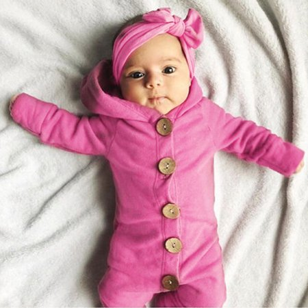 Baby Boys Girls Soft Cotton Long Sleeved Hooded Single-breasted Romper Cute Infant Jumpsuits Kids Sleepwear - image 4 of 7