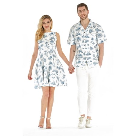 c86a21ed Couple Matching Hawaiian Luau Cruise Outfit Shirt Vintage Dress Vintage  Tropical Toile Men M Women L