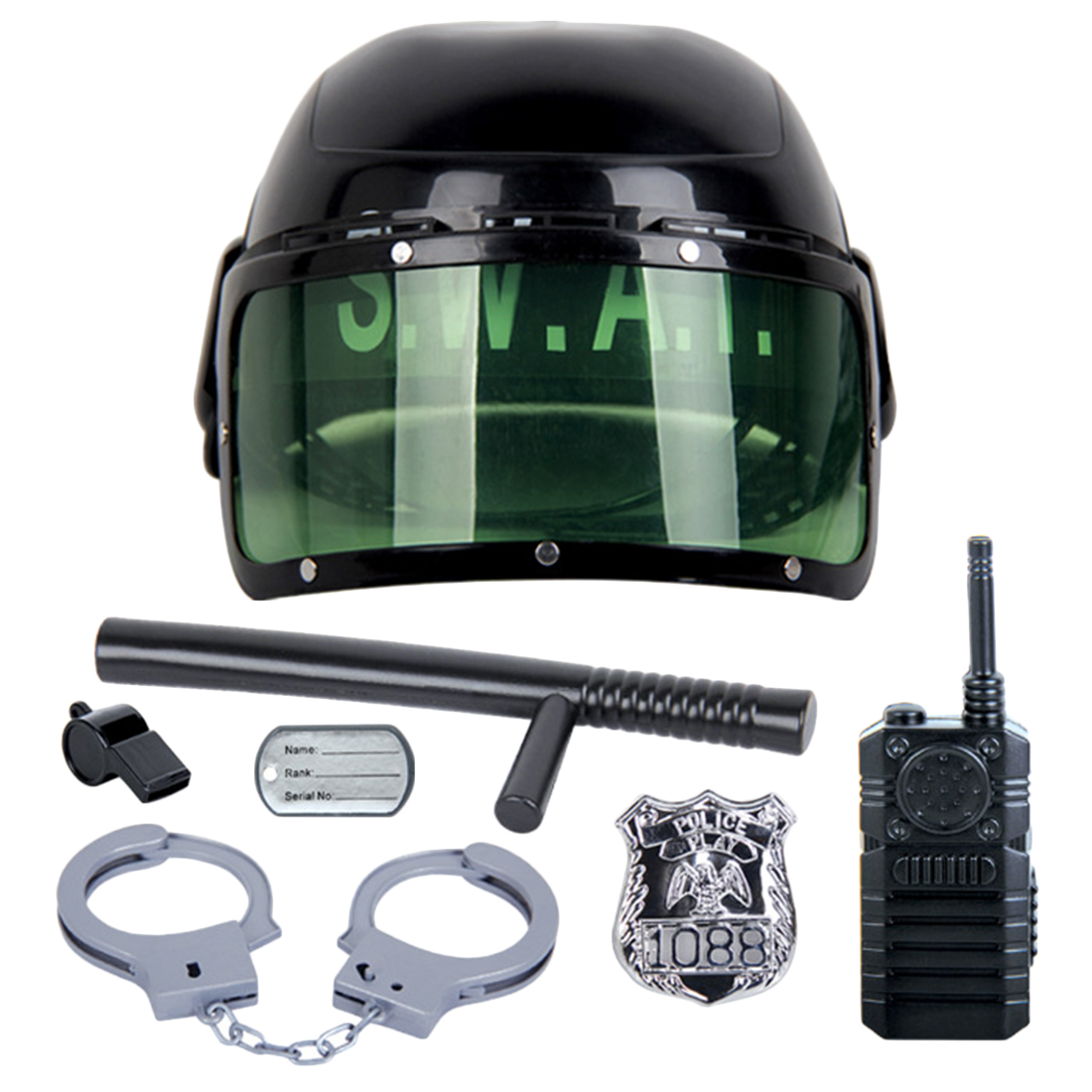 7Pcs Kid's Police Motorcycle Cop Helmet and Officer Accessory Role Play Costume Set