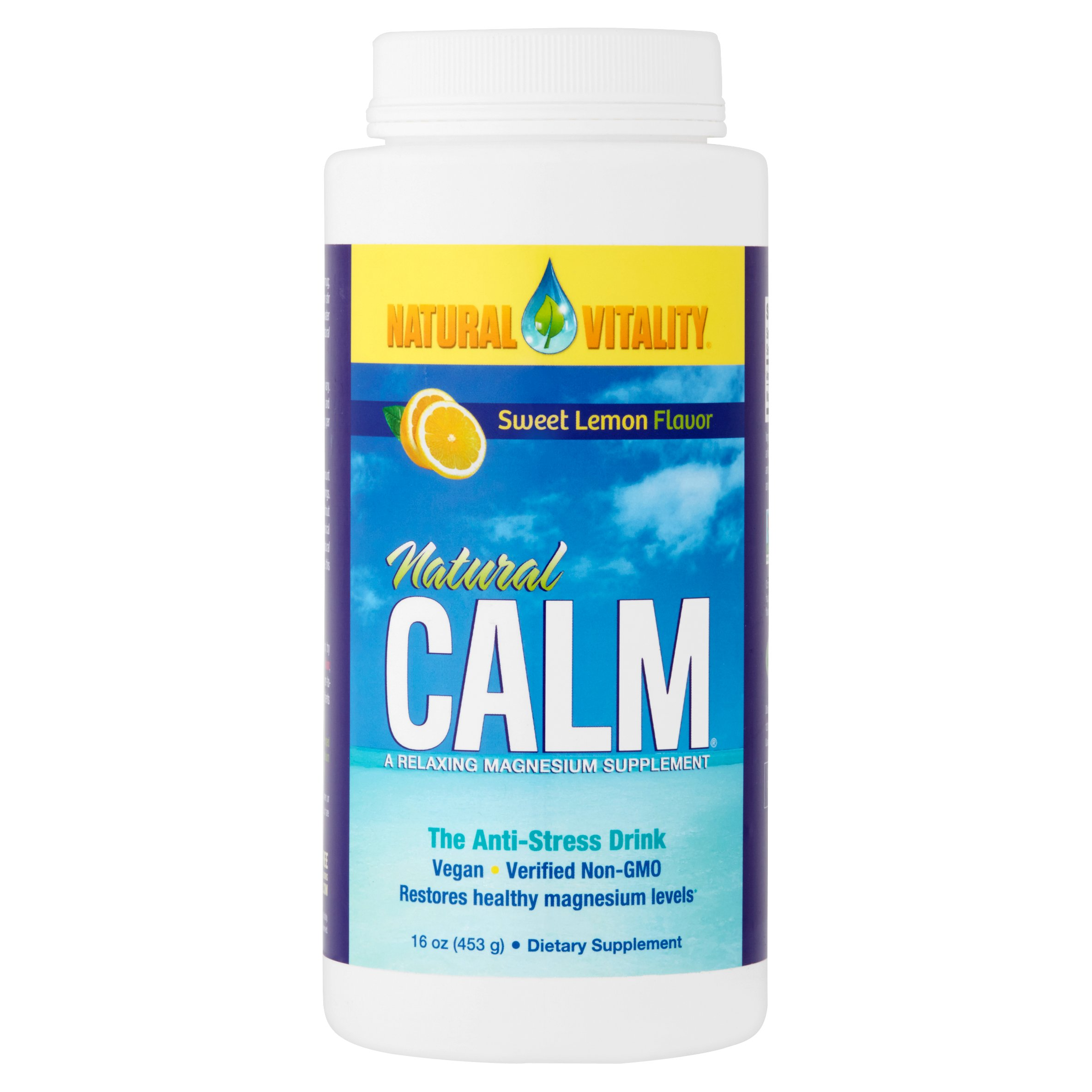 Natural Vitality Sweet Lemon Flavor Natural Calm Magnesium Dietary Supplement, 16 oz