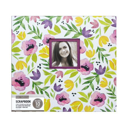 K&Co Scrapbook 12x12 Purple Poppies Watercolor (Leaves 12x12 Scrapbook Paper)