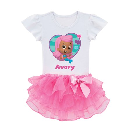 Personalized Bubble Guppies Molly Toddler Girl Pink Tutu Shirt In Sizes: 2t, 3t, 4t, 5/6t - Bubble Guppies Halloween Costume Gil