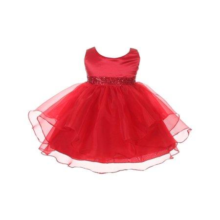 Chic Baby Girls Red Organza Embellished Waist Flower Girl Dress (Girls Red Flower Girl Dress)