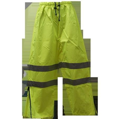 Small Waterproof Pants - Petra Roc LPP-CE-S Pants ANSI-ISEA 107-2004 Class E Waterproof Drawstring, Lime - Small
