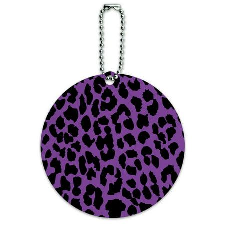 Leopard Print Purple and Black Round ID Card Luggage -