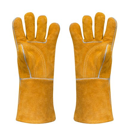Leather Welding Glove 400 F Long Thick Heavy Heat Resistant Gloves for Grilling Cooking Camping Barbecue Oven Mitts Large 14