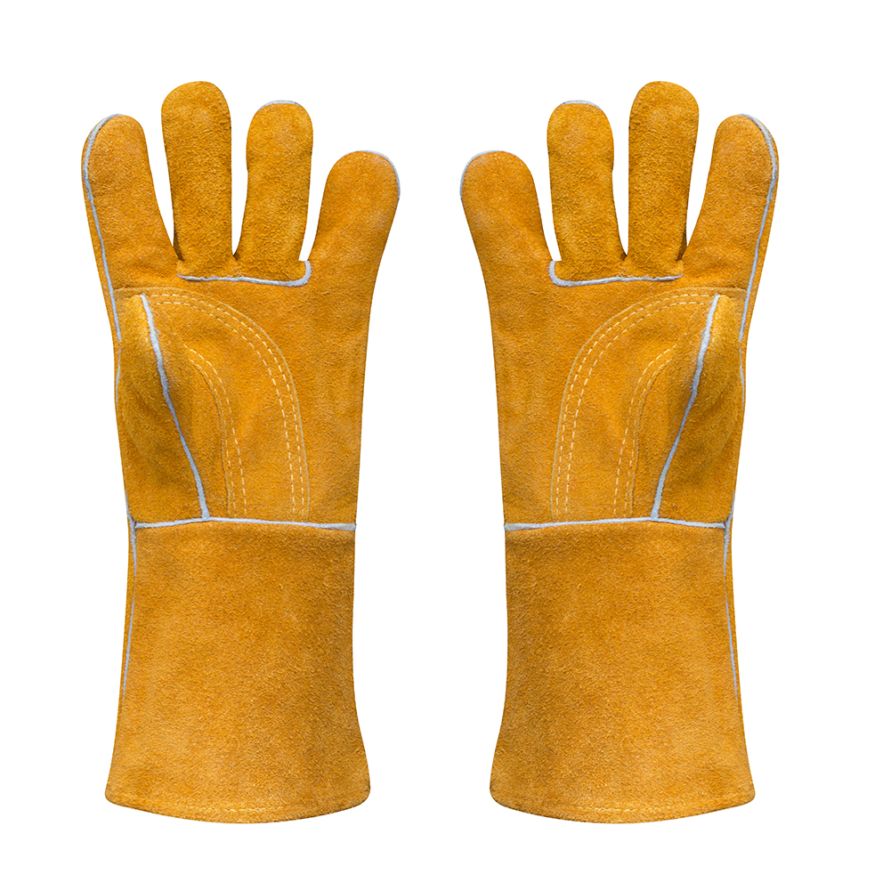"""Leather Welding Glove 400 F Long Thick Heavy Heat Resistant Gloves for Grilling Cooking Camping Barbecue Oven Mitts Large 14"""""""