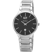 Men's Dial with Date Watch, Black, Stainless Steel Bracelet