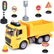 Construction Vehicles with Traffic Sign, Kids Construction Toys, Play Vehicles, Engineering Trucks Toy for Age 3-8 Years Boys and Girls F-418