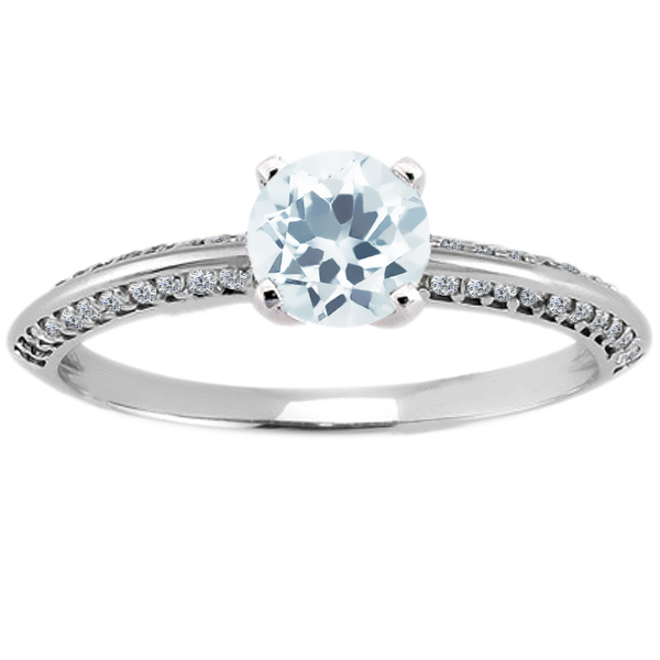 1.18 Ct Round Sky Blue Topaz 14K White Gold Ring by