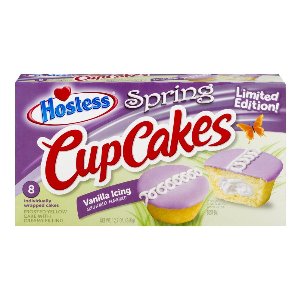 Hostess Cup Cakes Spring Vanilla Icing, 8 ct, 1.58 oz