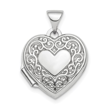 925 Sterling Silver Rhod Plated Scroll Design Front Back 15mm Heart Photo Pendant Charm Locket Chain Necklace That Holds Pictures Gifts For Women For - Scroll Back Design