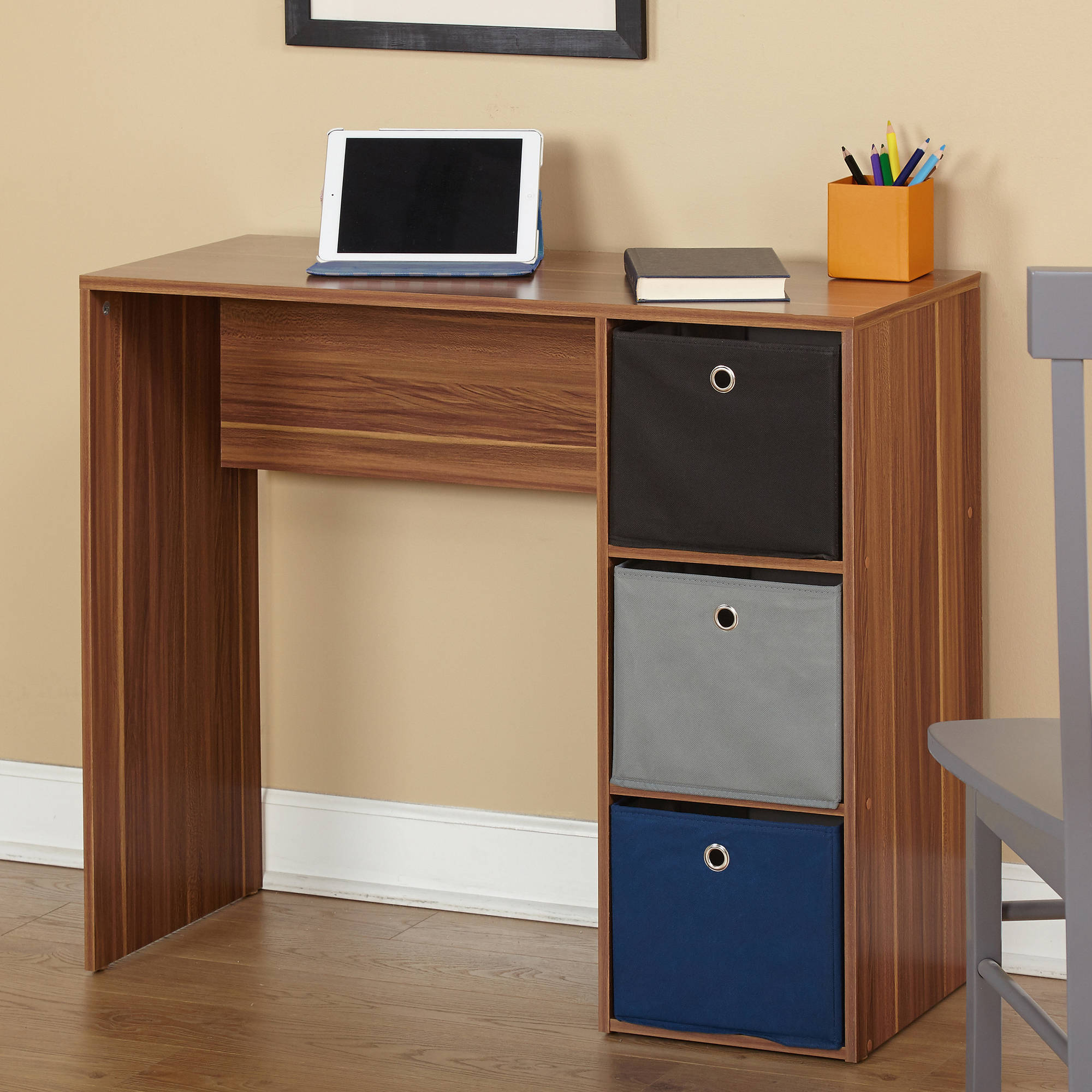 Student Writing Desk with 3 Fabric Bins, Multiple Colors