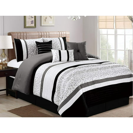 7 Piece Oversize Luxury Stripe Bed in Bag Microfiber Comforter Set, Black, Queen
