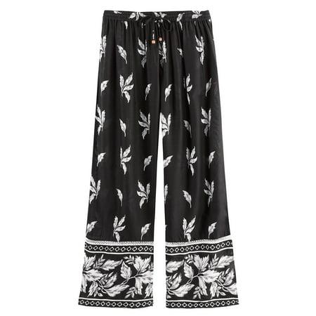 Women's Leaves & Flowers Lounge Pants -Pajama Bottoms Black & White (Crazy 8 Pajamas)