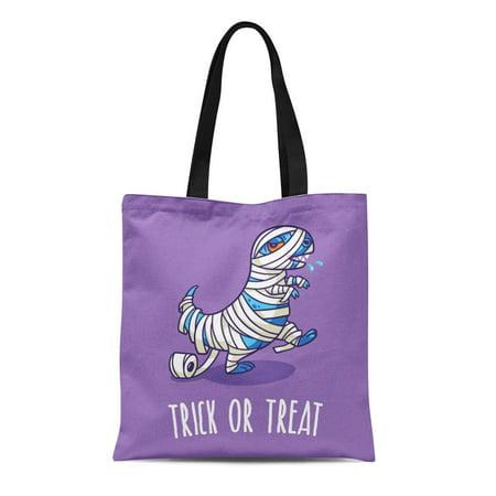 SIDONKU Canvas Tote Bag Autumn Trick Treat Halloween Dinosaur in Mummy Costume Baby Durable Reusable Shopping Shoulder Grocery - Mummy Halloween Treats