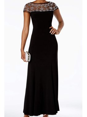 6ad68460 Free shipping. Product Image R&M RICHARDS Womens Black Beaded Short Sleeve  Boat Neck Maxi Fit + Flare Formal Dress Size