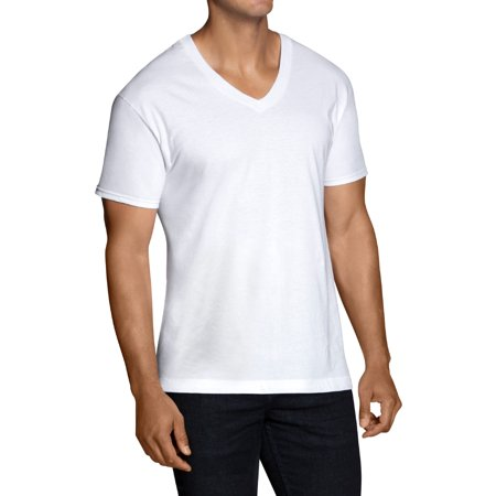Plain White V-neck - Men's Dual Defense White V-Neck T-Shirts, 3 Pack
