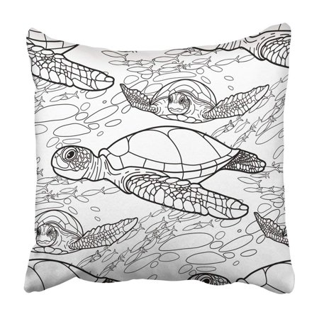 BPBOP Graphic Hawksbill Sea Turtle Drawn In Line Ocean Coloring Book Page For Adults Pillowcase 18x18 inch](Link Coloring Pages)
