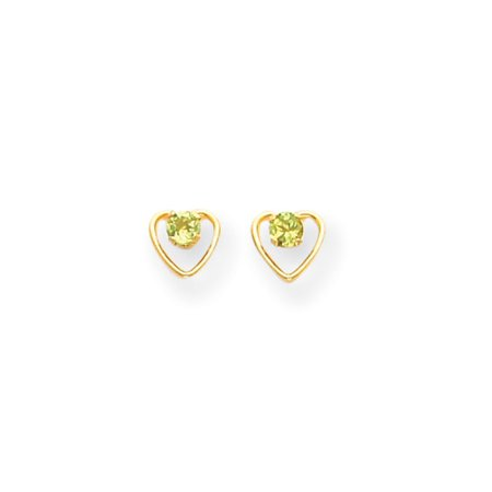 14k Yellow Gold Peridot Birthstone Earrings