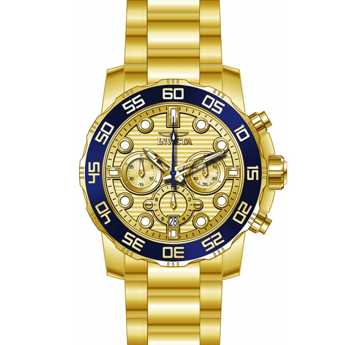 Invicta 22227 Men's Pro Diver Chronograph Gold Tone Dial Yellow Gold Steel Bracelet Watch