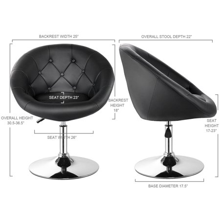 Gymax PU Leather Adjustable Modern Chair Swivel Round Tufted Back Black - image 8 de 10