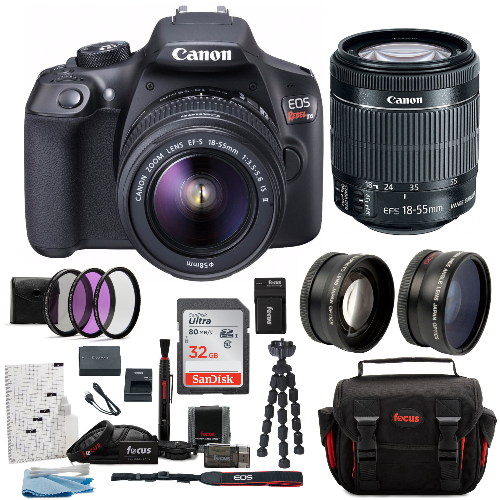 canon t6 eos rebel dslr camera with ef-s 18-55mm is ii lens...