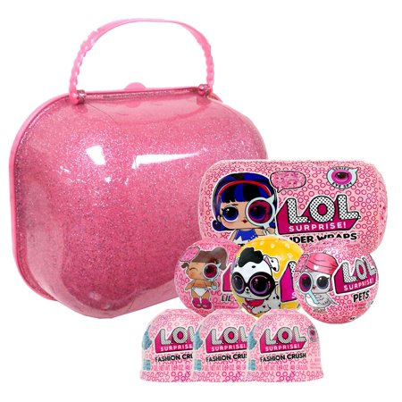 LOL Surprise 2018 EMPTY Carry Case, 2x Pets, 1x Lil Sister, 1x Under Wraps & 3x Fashion Crush Holiday Gift Bundle Set #2
