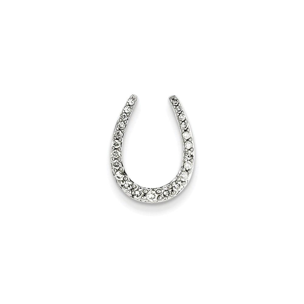 14k White Gold Diamond Horseshoe Pendant. Carat Wt- 0.25ct