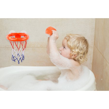 Fun Basketball Hoop & Balls Play set for Little Boys & Girls | Bathtub Shooting Game for Kids & Toddlers | Suctions Cups That Stick to Any Flat Surface + 3 Balls Included