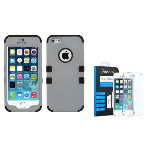 iPhone SE   5S   5 Gray Black Stylish TUFF Hybrid Rugged Shockproof Case by Insten (with Tempered Glass Screen... by