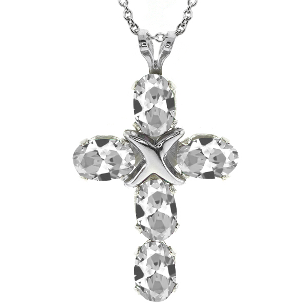 """2.75 Ct Oval White Topaz 925 Sterling Silver Cross Pendant With 18"""" Silver Chain"""
