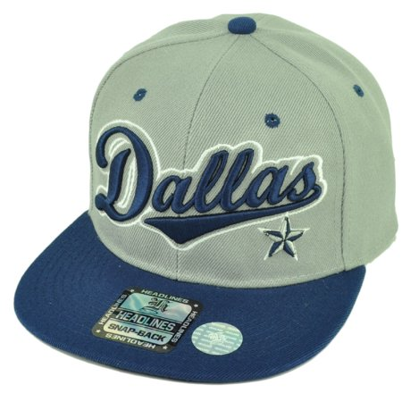 Dallas Texas City 3D Logo Snapback Flat Bill Brim Hat Cap Gray Grey Blue Mens (Mens Strapback Hats)