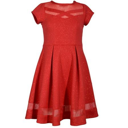 c061bb59e4 BONNIE JEAN - Bonnie Jean Big Girls 7-16 Short Sleeve Glitter Skater  Holiday party Dress - Walmart.com