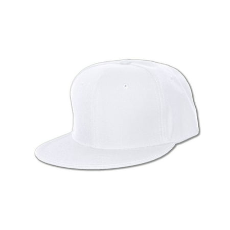 - NEW PLAIN WHITE FLAT FITTED HAT CAP SIZE - 7 1/4