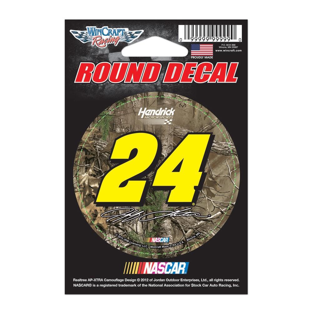 Jeff Gordon Official NASCAR 3 inch  Round Vinyl Car Decal by Wincraft
