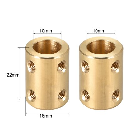 Shaft Coupling 10mm to 10mm Bore L22xD16 Robot Motor Wheel Rigid Coupler Connector Gold Tone - image 2 of 3