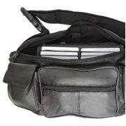 Genuine Leather men's women's travel phone holder Waist Pouch/Fanny pack Black 405