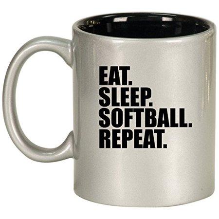 aa0265e9a97 Ceramic Coffee Tea Mug Cup Eat Sleep Softball Repeat (Silver) - Walmart.com