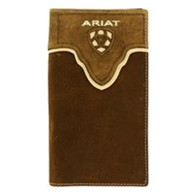 Ariat A3531244 Distressed Shield Inlay Rodeo Western Wallet, Medium Brown - One Size - image 1 de 1