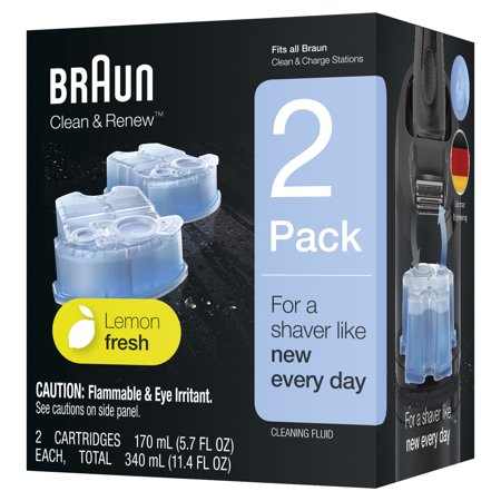Braun Clean & Renew Refill Cartridges CCR, Lemon Fresh, 2 Pk Soap System Refill Cartridges