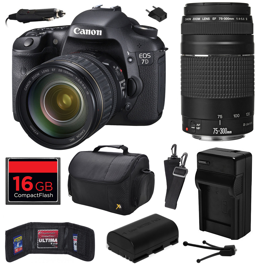 Canon EOS 7D 18 MP CMOS Digital SLR Camera with 28-135mm f/3.5-5.6 IS USM and EF 75-300mm f/4-5.6 III Lens includes 16GB Memory, Large Case, Battery, Charger, Memory Card Wallet, Cleaning Kit 3814B010