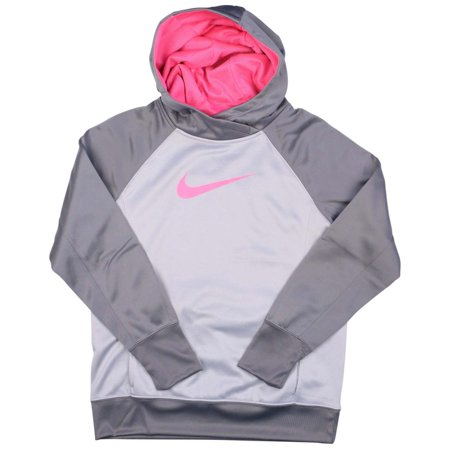 nike big girls 39 7 16 therma fit ko 3 0 pullover training hoodie wolf grey pink. Black Bedroom Furniture Sets. Home Design Ideas