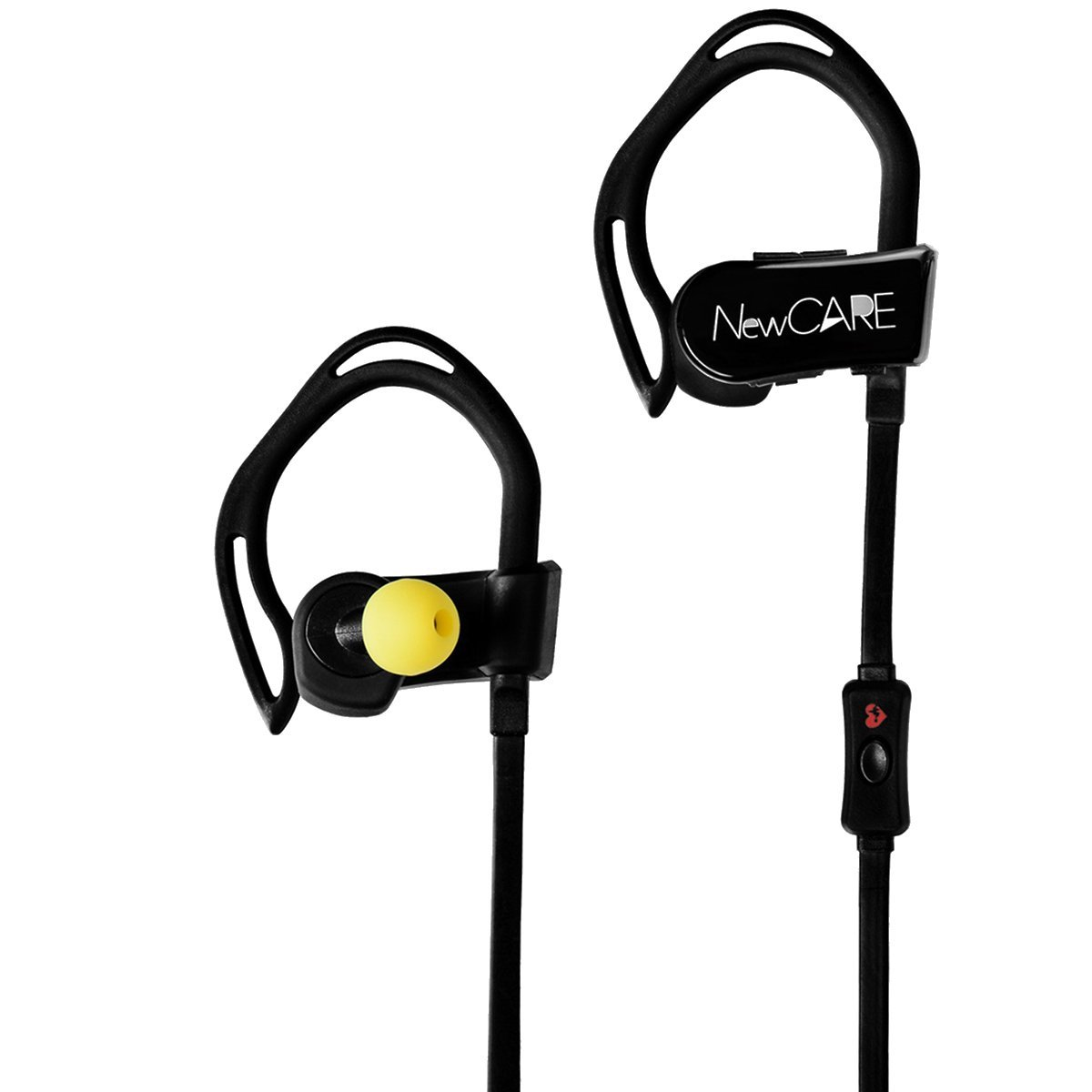 Newcare Bluetooth 4.0 Noise Cancelling Sport Headphones Wireless Earphones with Heart Rate Monitor Sweatproof Earbuds for Running Exercise Waterproof