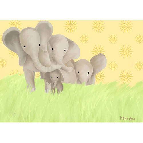 Oopsy Daisy's Elephant Parade Yellow Canvas Wall Art, 14x10