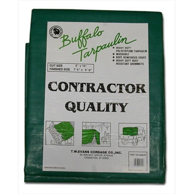 T. W.  Evans Cordage G1012 10 ft.  x 12 ft.  Contractor Grade Poly Tarp in Black and Green