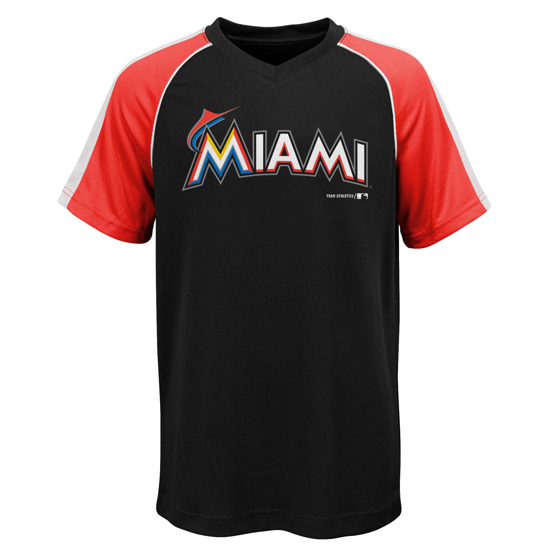 MLB Miami MARLINS TEE Short Sleeve Boys Fashion Jersey Tee 100% Polyester Pin Dot Mesh Jersey Team Tee 4-18