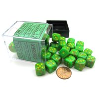 Chessex Vortex 12mm D6 Dice Block (36 Dice) -Slime with Yellow Numbers #27915