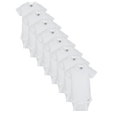 Gerber White Organic Cotton Short Sleeve Onesies Bodysuits, 8pk (Baby Boys or Baby Girls,