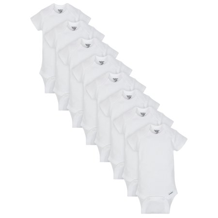 Gerber Baby Boy or Girl Gender Neutral White Organic Onesies Short Sleeve Bodysuits, 8-Pack